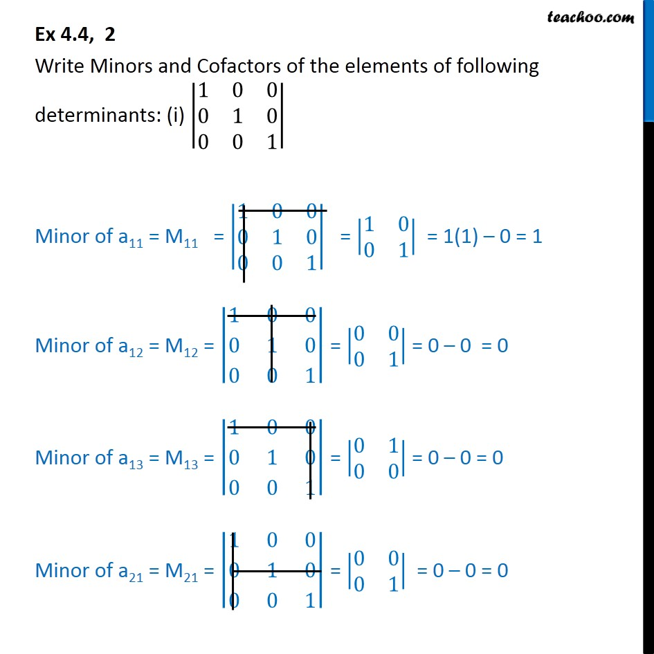 Ex 4.4, 2 - Write Minors, Cofactors of determinants - Class 12 - Finding Minors and cofactors