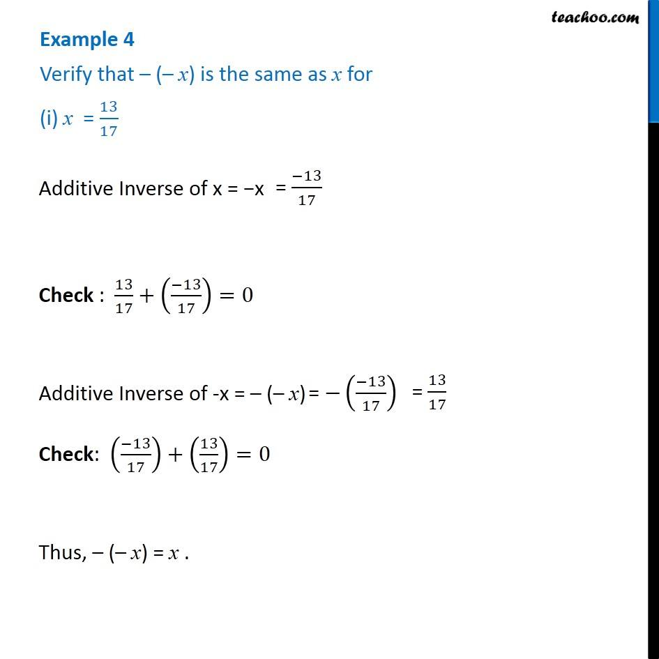 Example 4 Verify That X Is Same As X For I X 1317