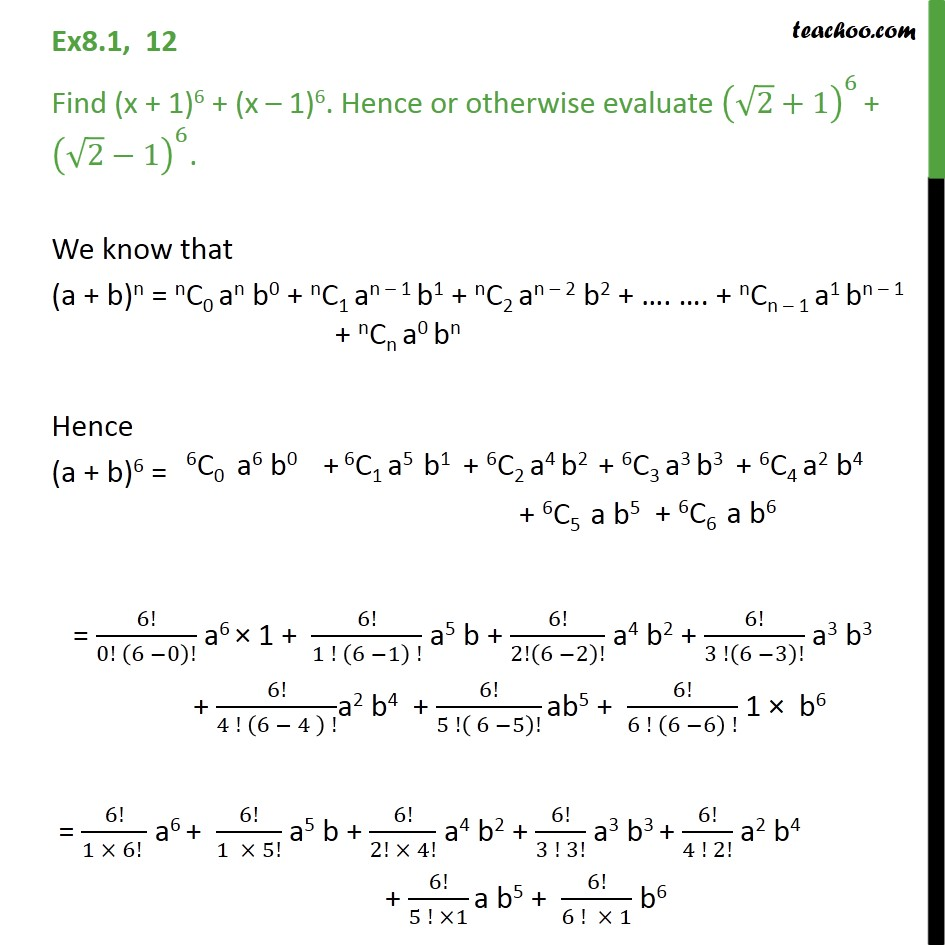 Ex 8.1, 12 - Find (x + 1)6 + (x - 1)6 - Chapter 8 Binomial - Expansion