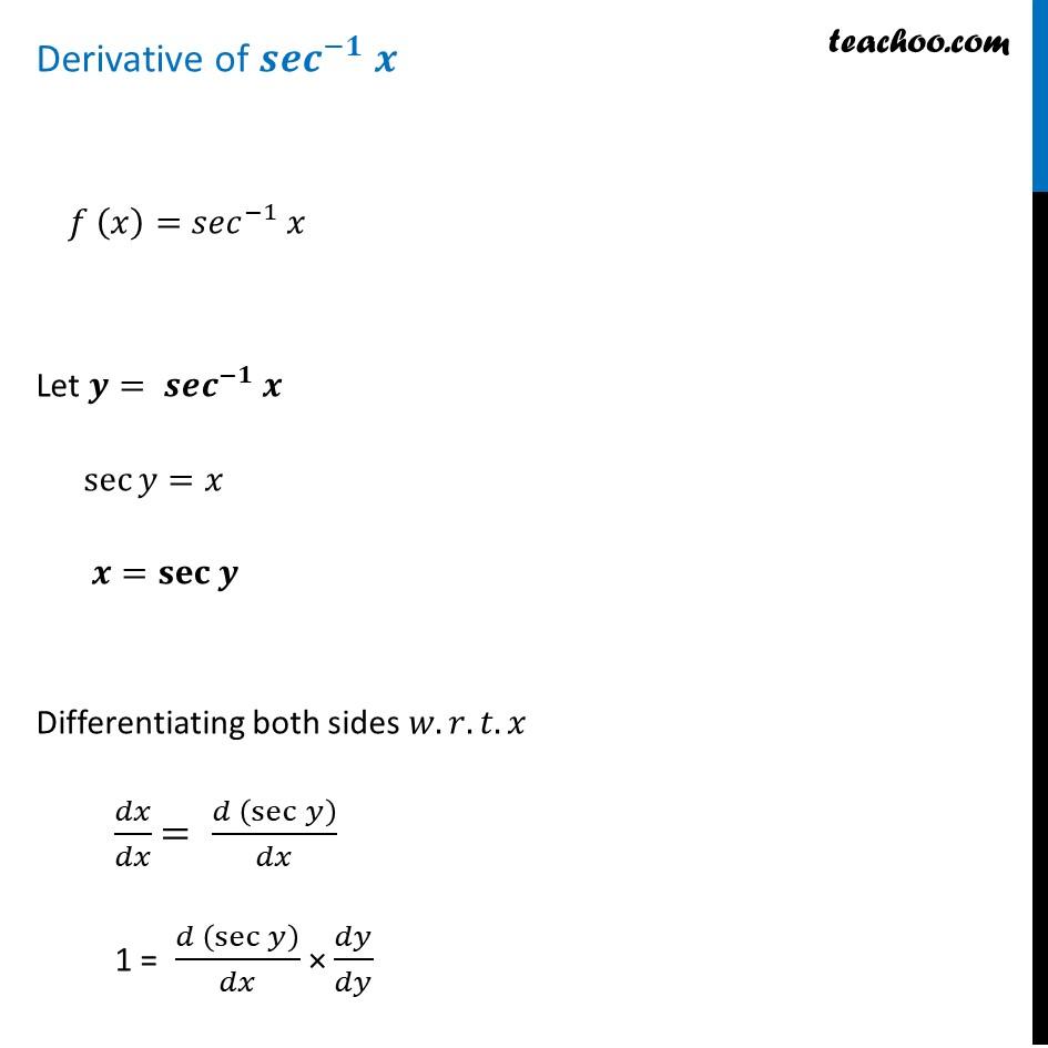 Derivative of sec-1 x (Sec inverse x) - Teachoo [with Video]
