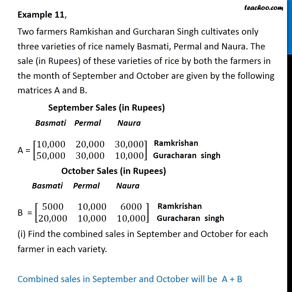 Example 11 - Two farmers Ramkishan and Gurcharan Singh cultivates