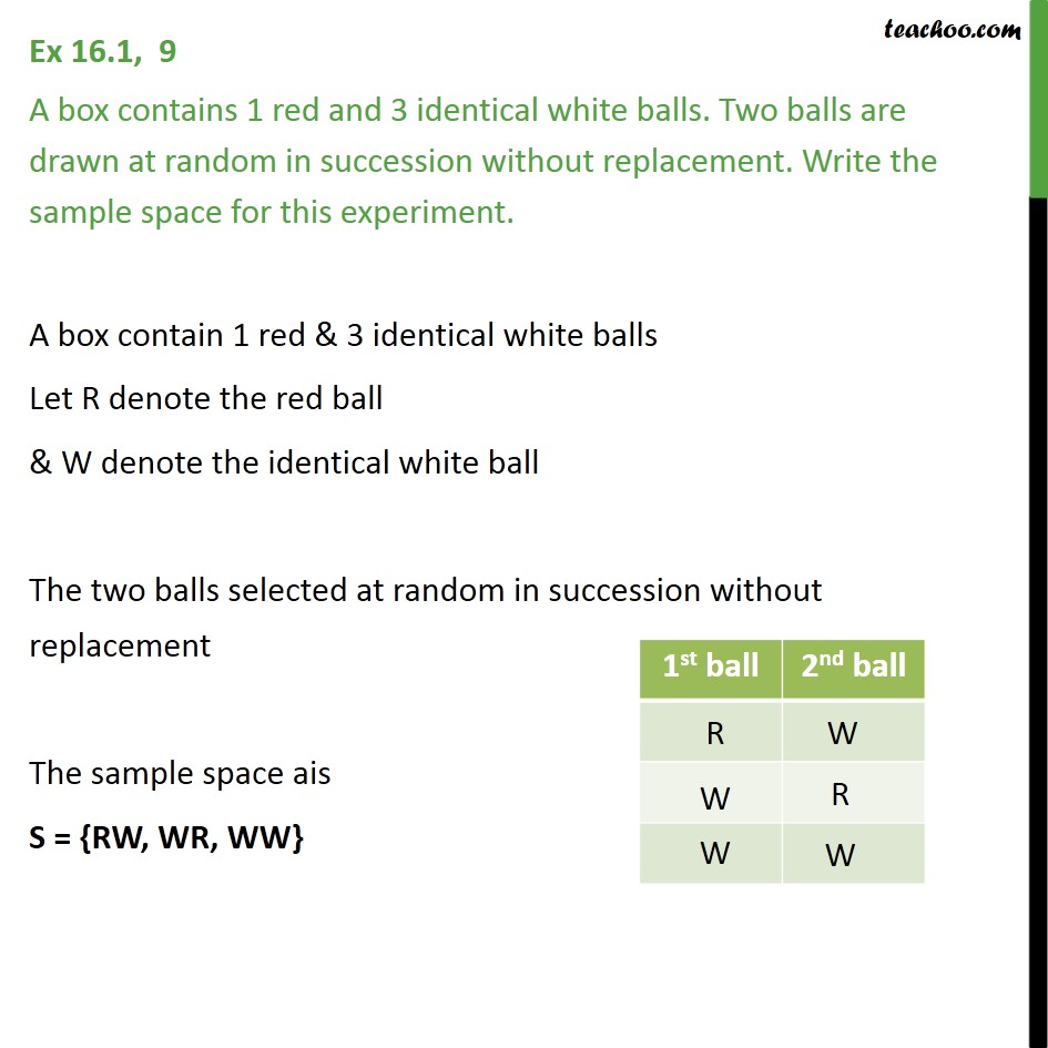 Ex 16.1, 9 - A box contains 1 red, 3 identical white balls - Sample Space