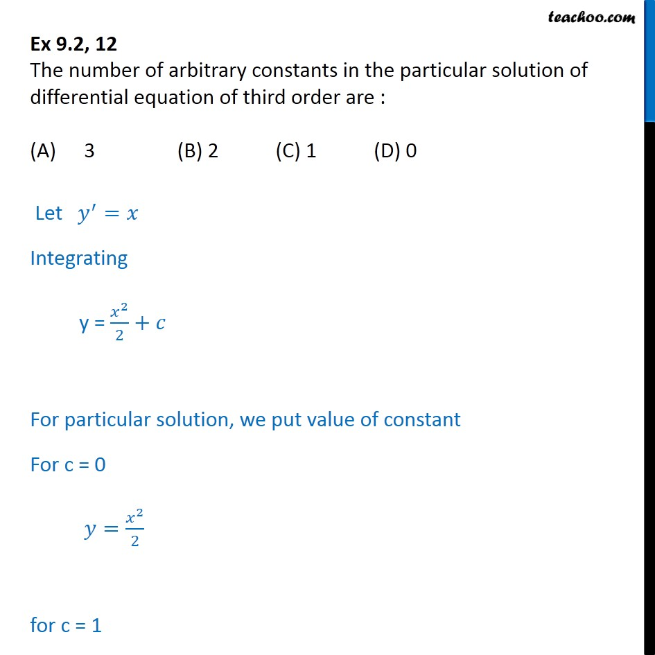 Ex 9.2, 12 - Number of arbitrary constants in particular solution - Ex 9.2