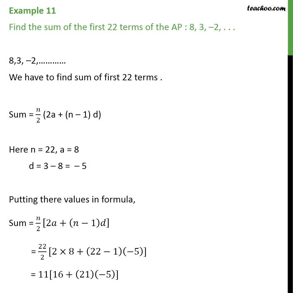 Example 11 - Find sum of first 22 terms of AP: 8, 3, -2, .. - Finding sum of n terms