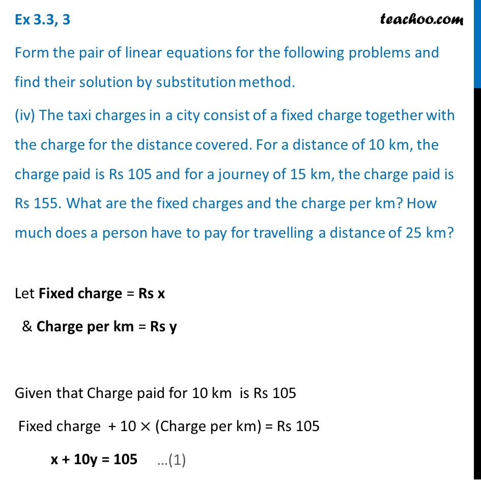 Ex 3.3, 3 (iv) - The taxi charges in a city consist of a fixed charge