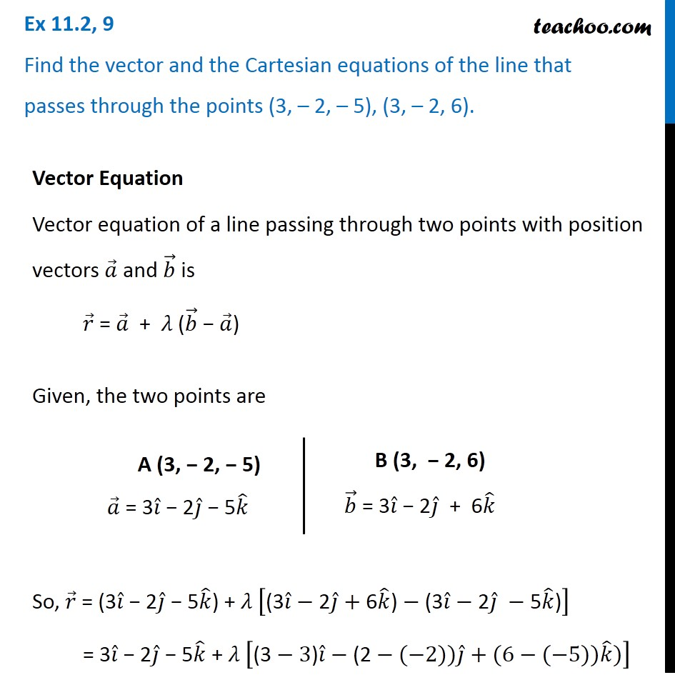 Ex 11.2, 9 - Find vector and Cartesian equations of line