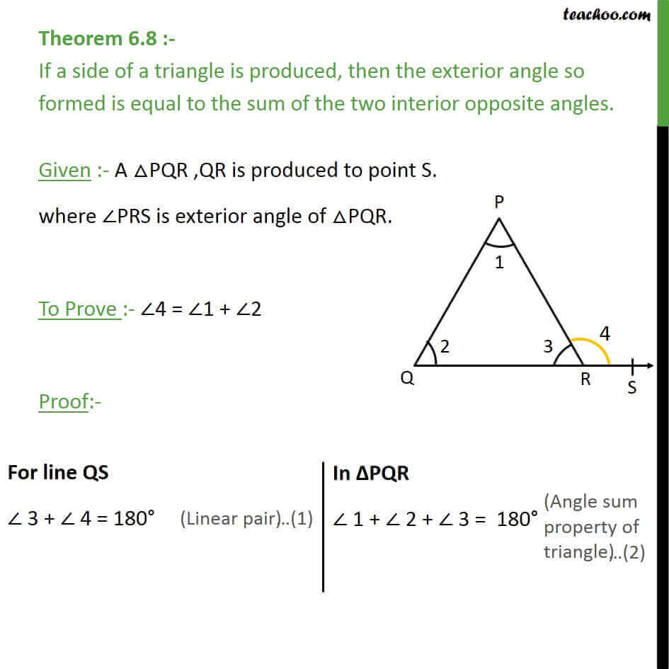 Theorem 6 8 Exterior Angle Is Equal To Sum Interior