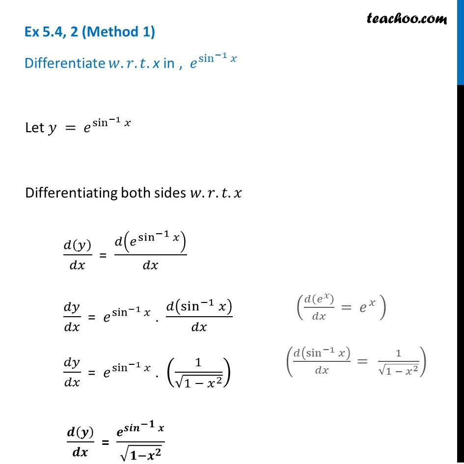 Ex 5.4, 2 - Differentiate e^sin-1 x - Teachoo - Ex 5.4