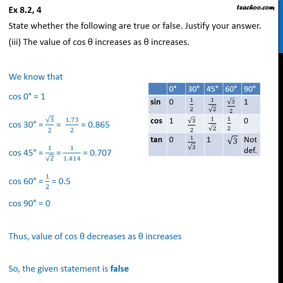 Ex 8.2, 4 (iii) - The value of cos increases as increases - Chapter 8 Class 10 Trignometry