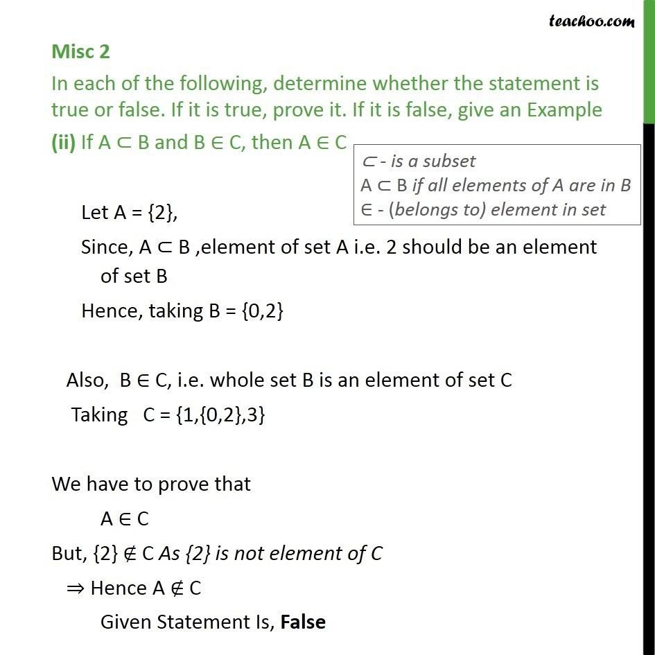 Misc 2 True Or False I If X A A Belongs B Then X Sets