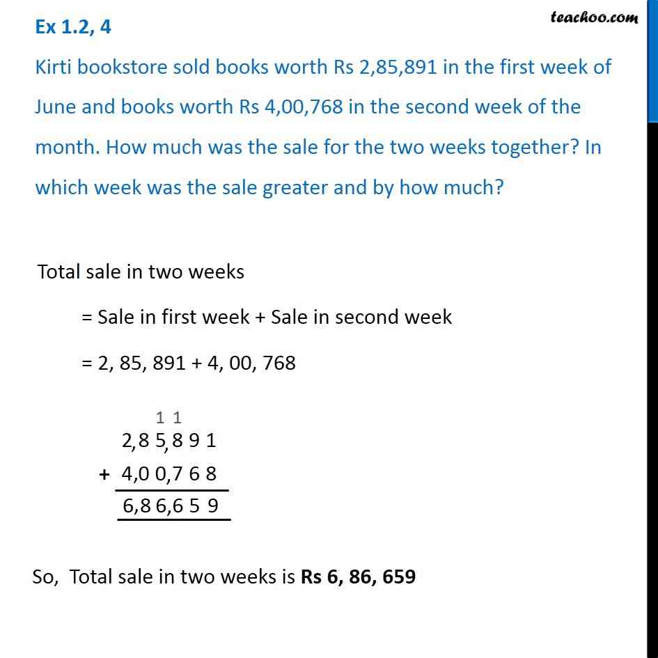 Ex 1.2, 4 - Kirti bookstore sold books worth Rs 2,85,891 in first week - Addition of large numbers
