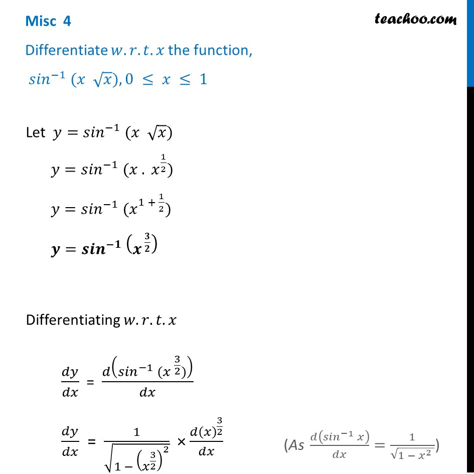Misc 4 - Differentiate sin-1 (x root x) - Chapter 5 NCERT