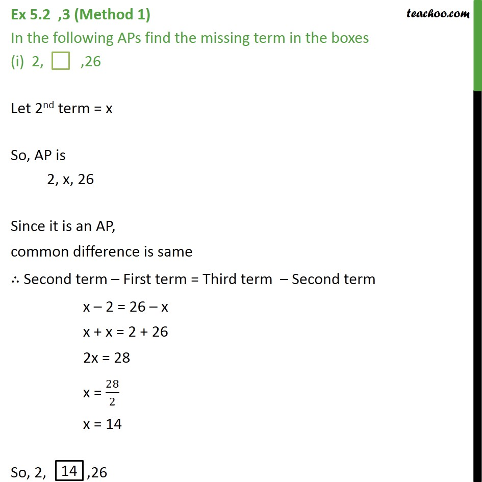 Ex 5.2, 3 - In the following APs, find missing term in boxes - Ex 5.2