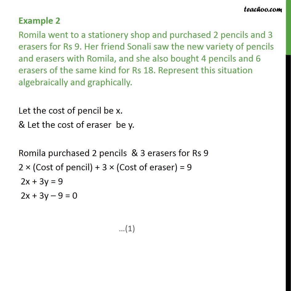 Example 2 - Romila went to a stationery shop and purchased - Forming equations graphically and algebraically