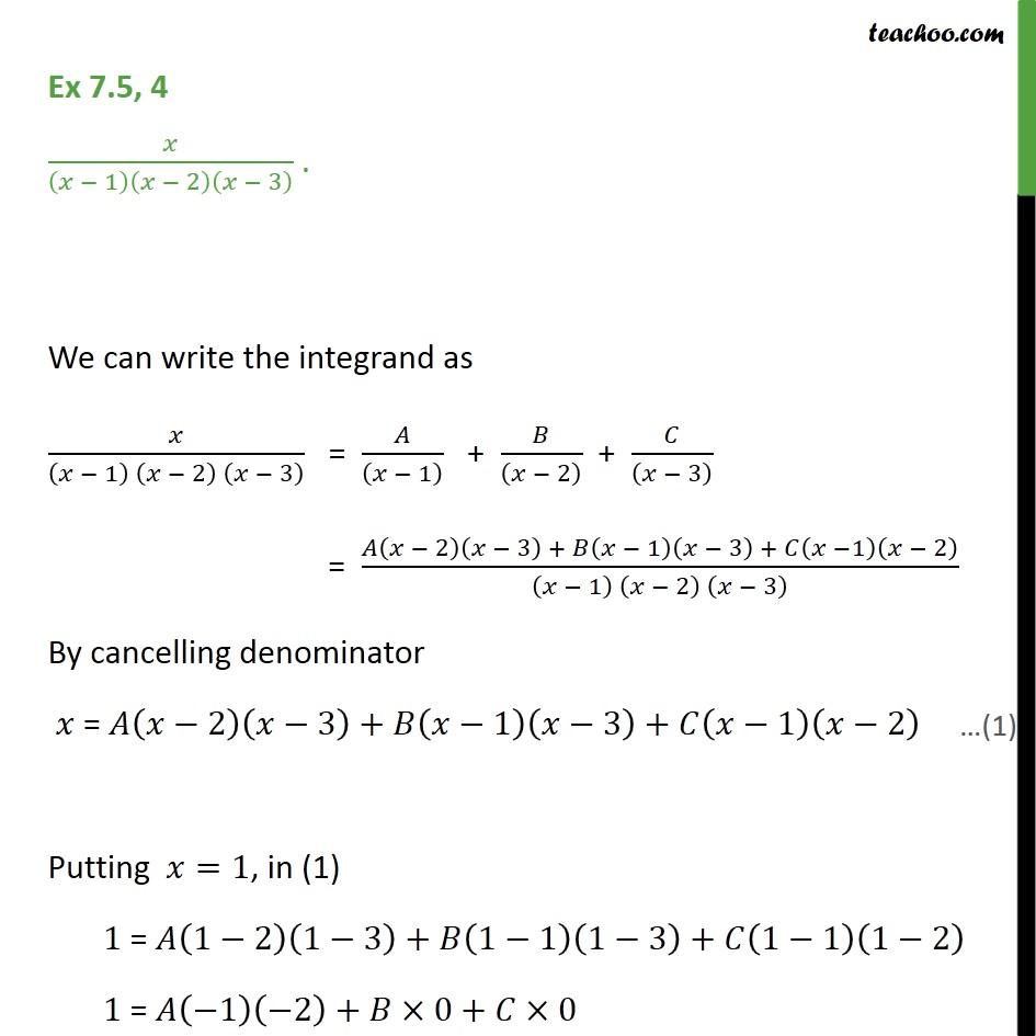 Ex 75 4 Integrate X X 1 X 2 X 3 Partial Fractions