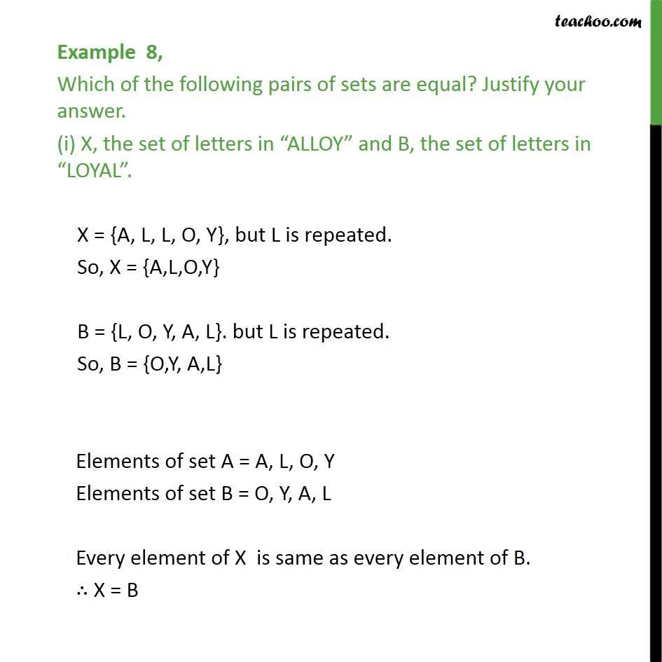 Example 8 - Which sets are equal (i) X, set of letters in ALLOY - Equal sets