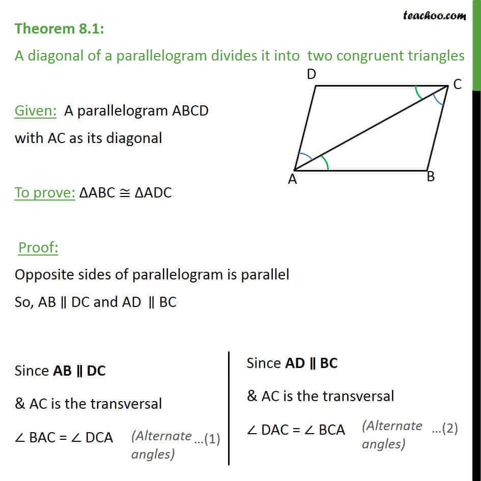 Theorem 8.1 - Class 9 - Diagonal of parallelogram divides.jpg