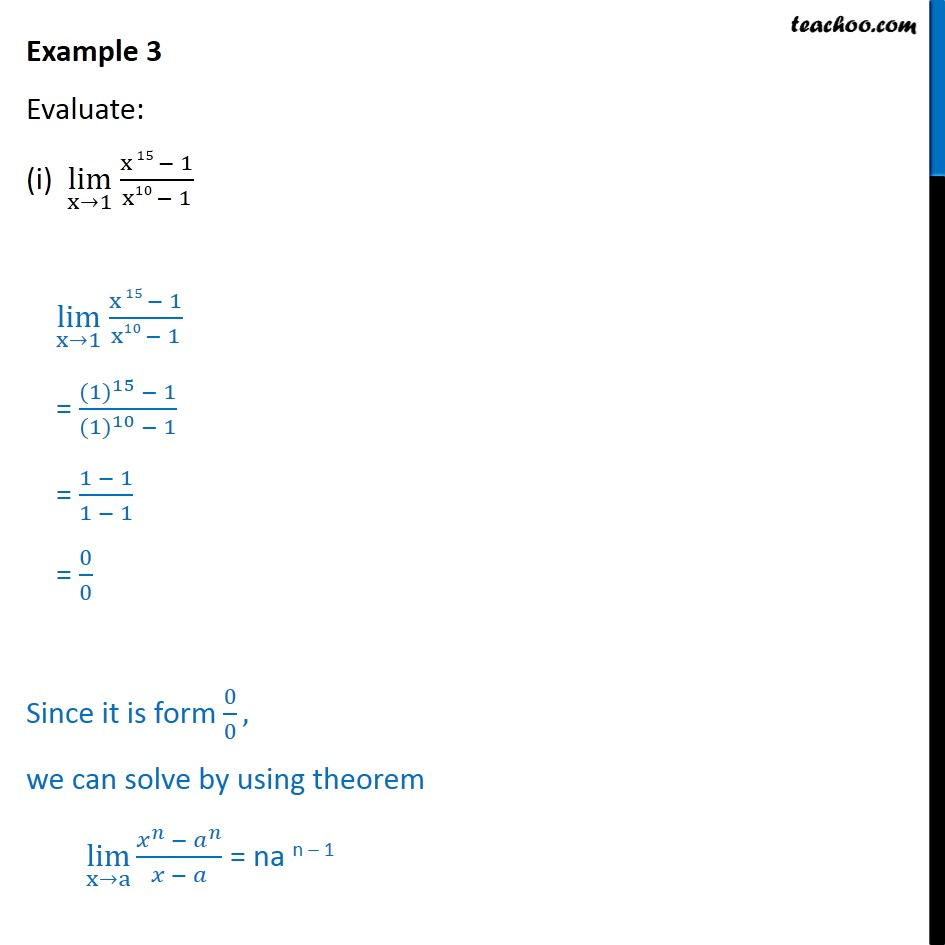 Example 3 - Evaluate (i) lim x->1 x15 - 1/x10 - 1 - Chapter 13 - Limits - x^n formula