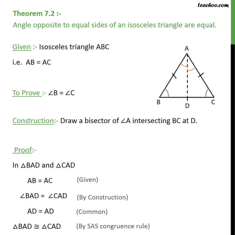 Worksheets Isosceles Triangle Theorem Worksheet theorem 7 2 angle opposite to equal sides of a triangle are an isosceles jpg