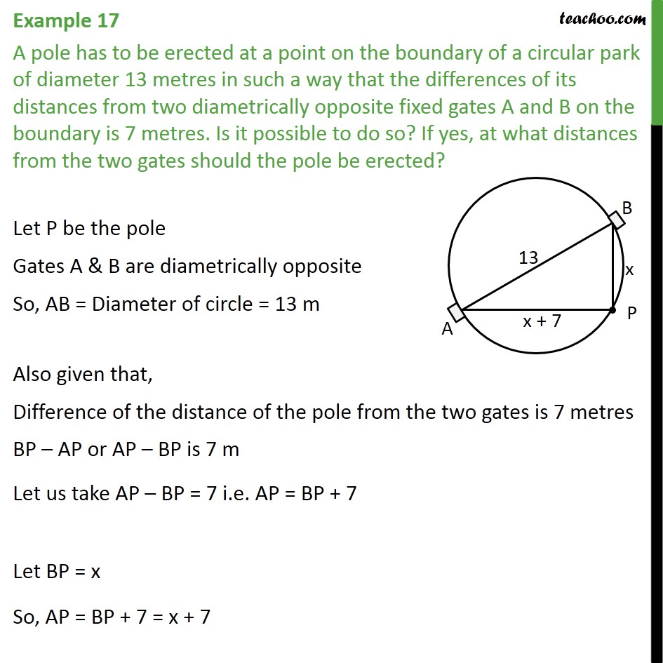 Example 17 - A pole has to be erected at a point on - Examples