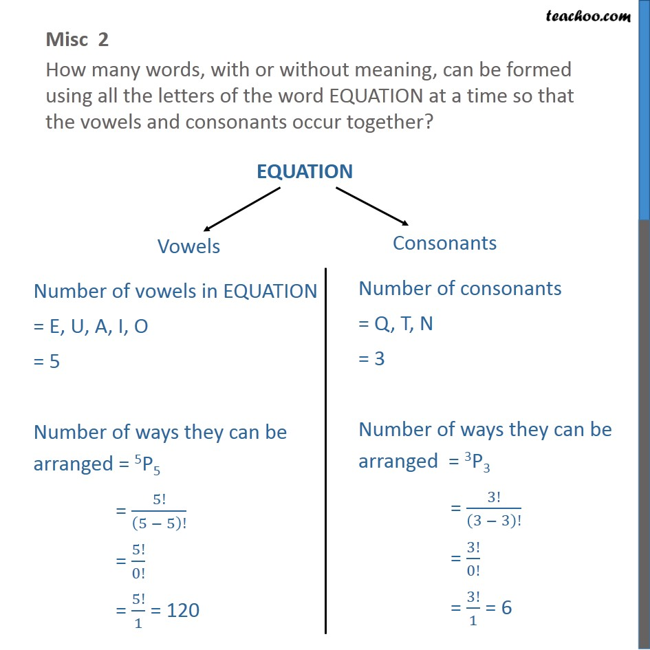 Misc 2 - How many words can be formed using EQUATION - Permutation- repeating