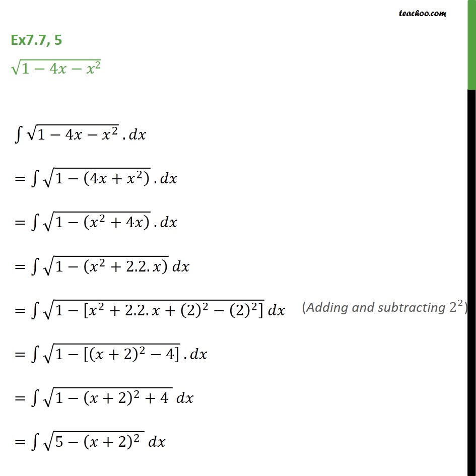 Ex 7.7, 5 - Integrate root 1 - 4x - x2 - Chapter 7 NCERT - Integration by specific formulaes - Formula 8