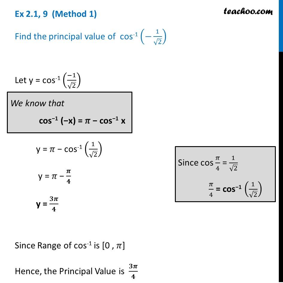 Ex 2.1, 9 - Find principal valueofcos-1 (-1/root 2) - Ex 2.1