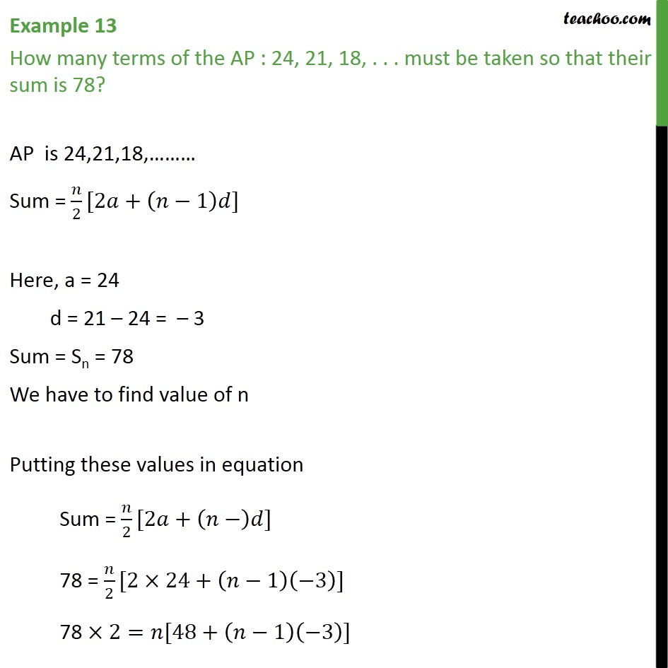Example 13 - How many terms of AP: 24, 21, 18 ... must - Examples