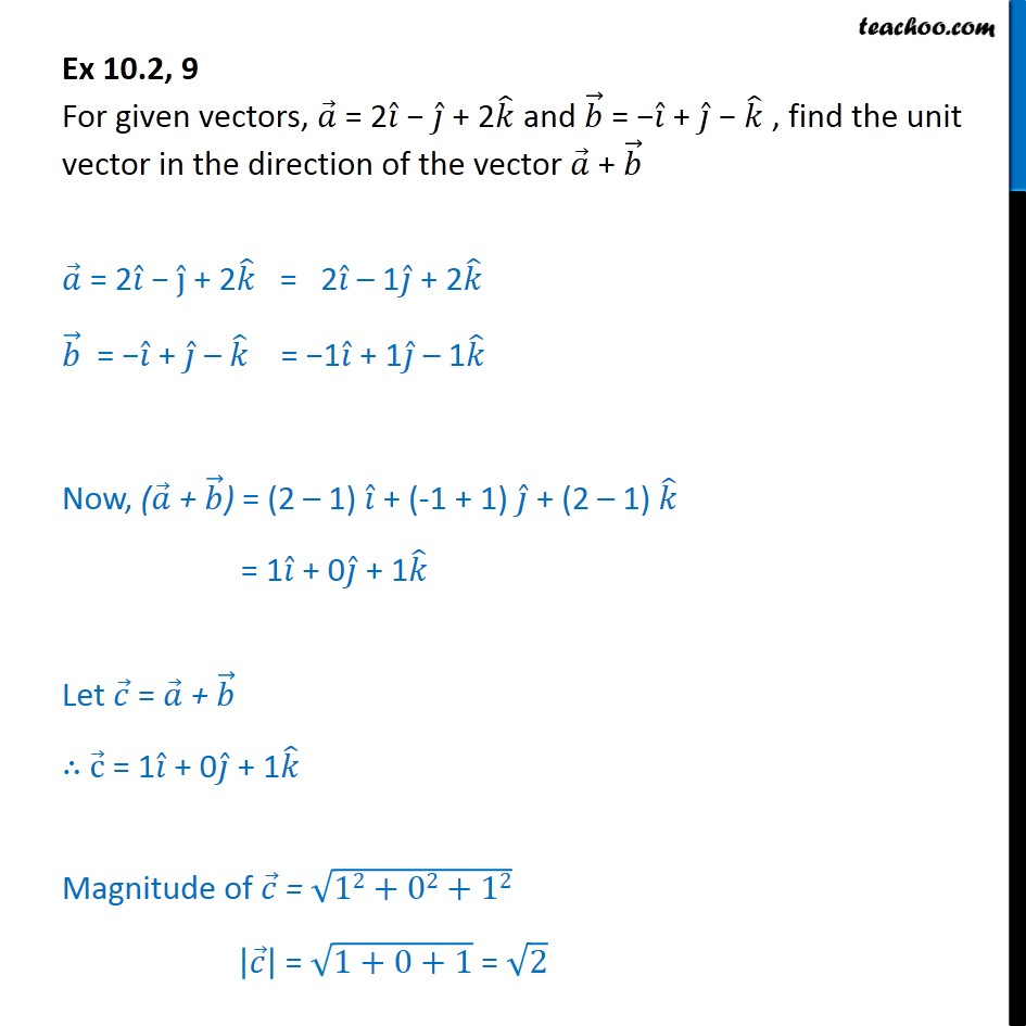 Ex 10.2, 9 - For a = 2i - j + 2k, b = -i + j - k, find unit - Addition(resultant) of vectors