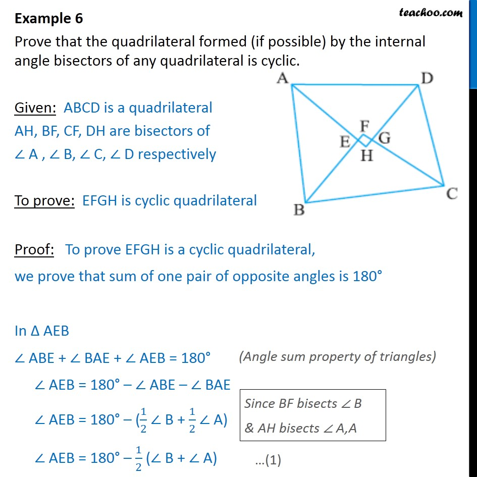 Example 6 - Prove that quadrilateral formed by internal - Examples