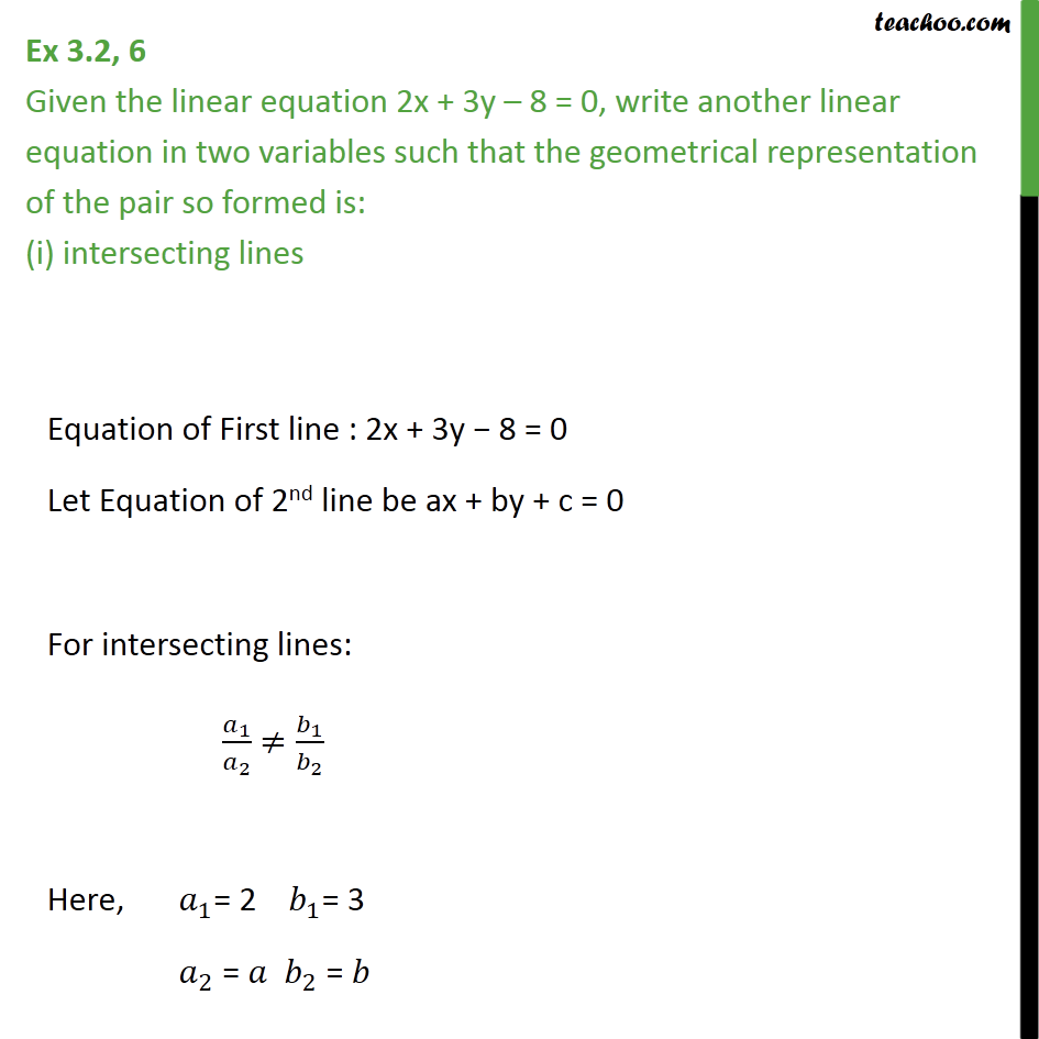 Ex 3.2, 6 - Given linear equation 2x + 3y - 8 = 0, write - Solving equations graphically