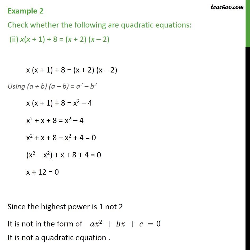 Example 2 - Chapter 4 Class 10 Quadratic Equations - Part 2