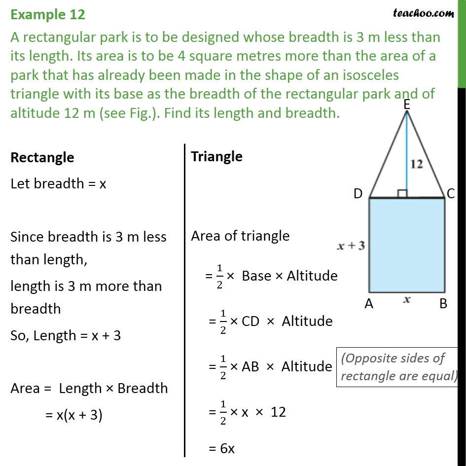 Example 12 - A rectangular park is to be designed whose - Solving by quadratic formula - Equation to be formed