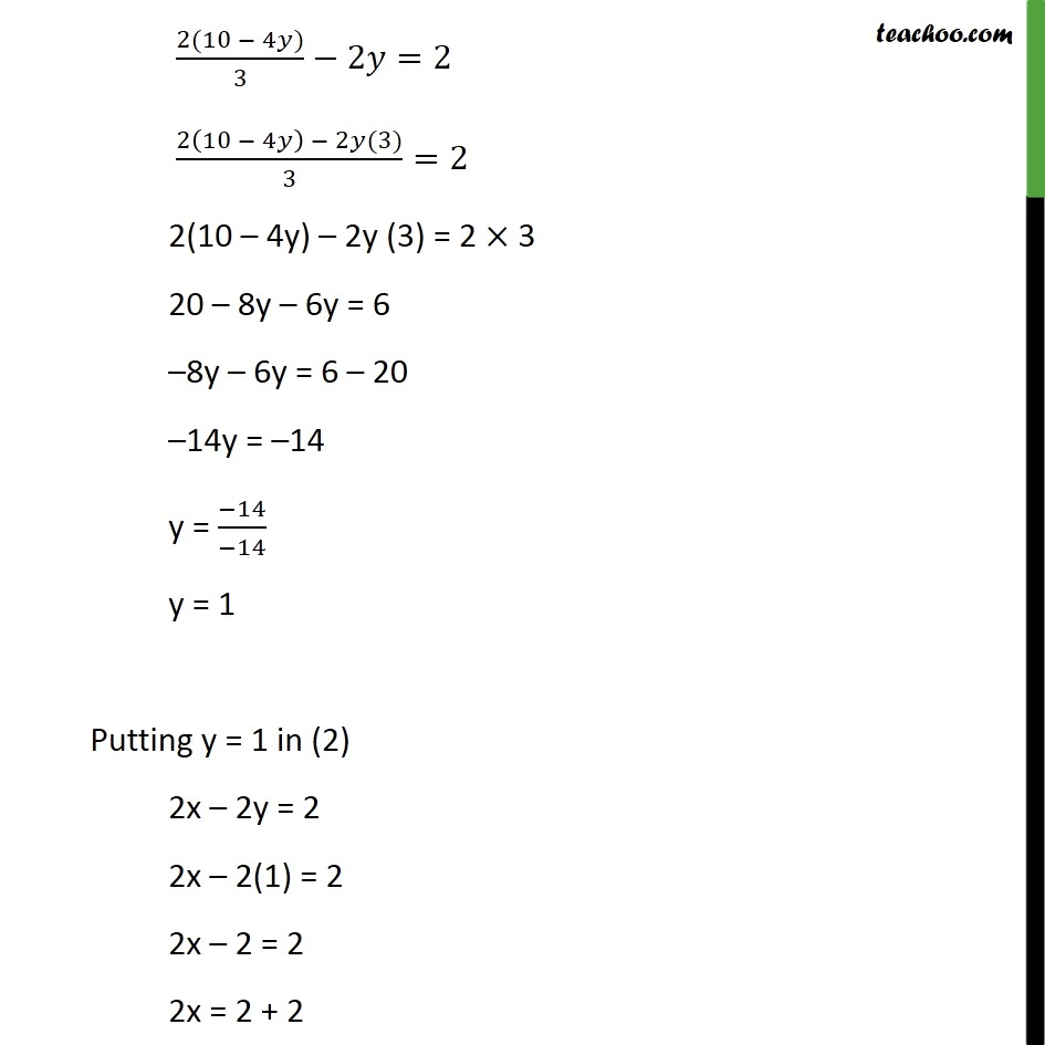 Ex 34 1 Solve By Elimination And Substitution I X Y 5 2x 3y