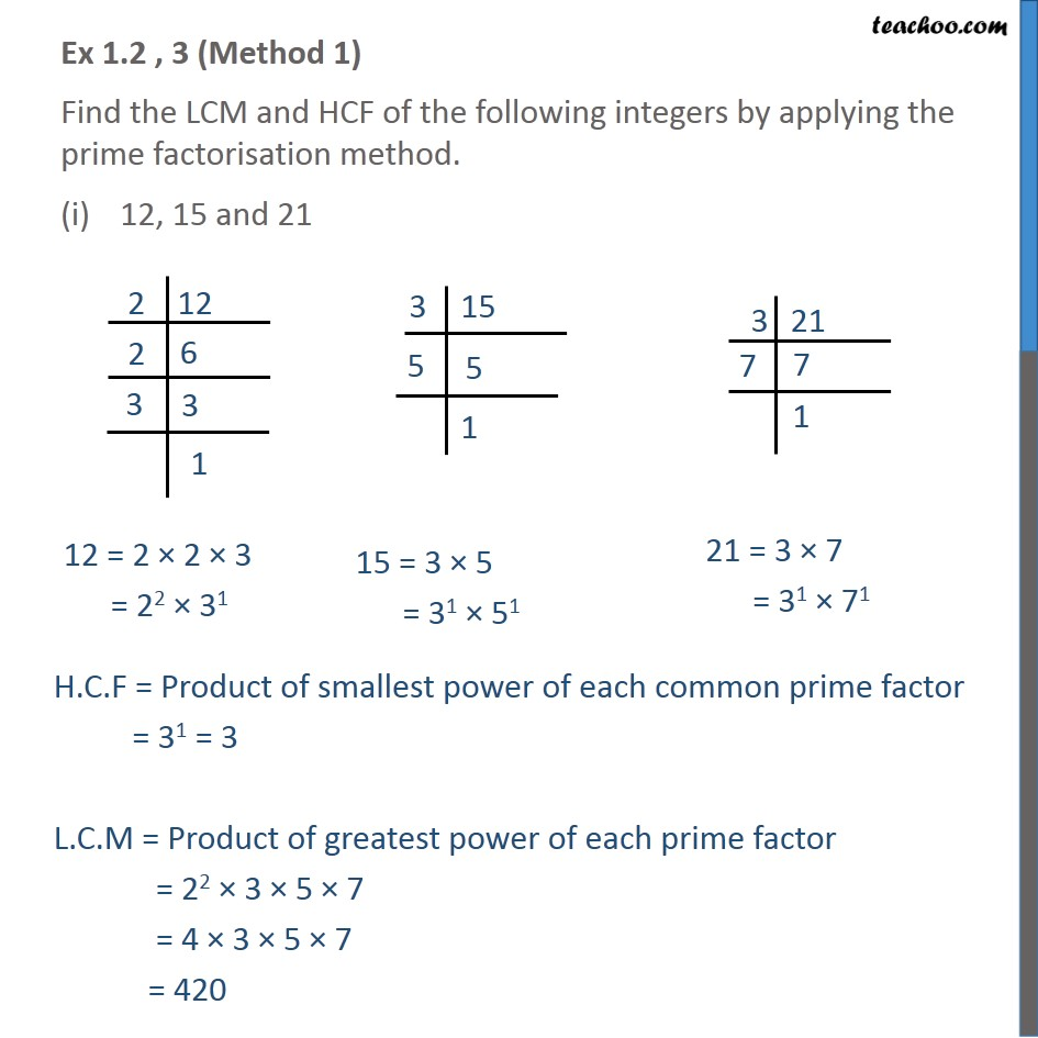 Ex 1.2, 3  - Find the LCM and HCF of following integers - LCM/HCF
