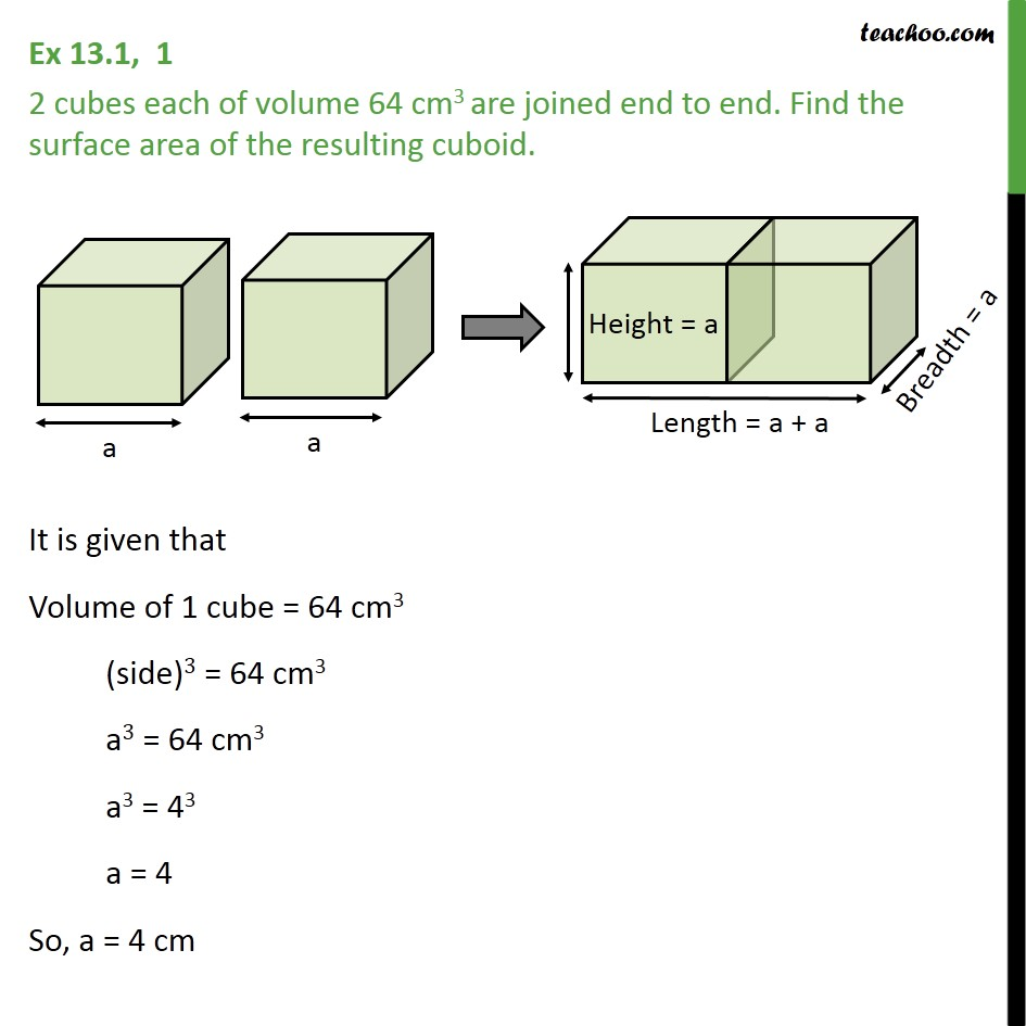 Ex 13.1, 1 - 2 cubes of volume 64 cm3 are joined end to end - Surface Area - Added