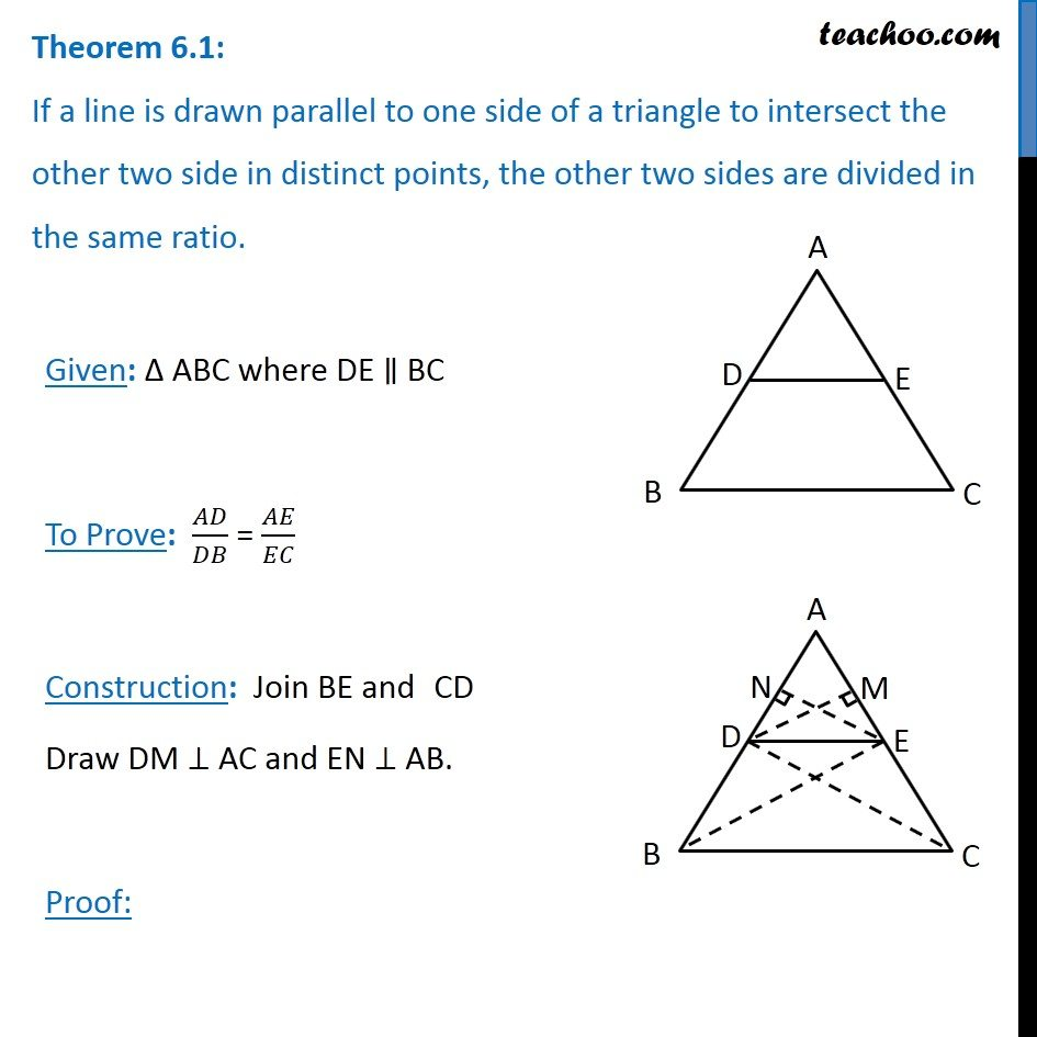 Theorem 6 1 - Basic Proportionality Theorem (BPT) - Chapter 6 Class 10