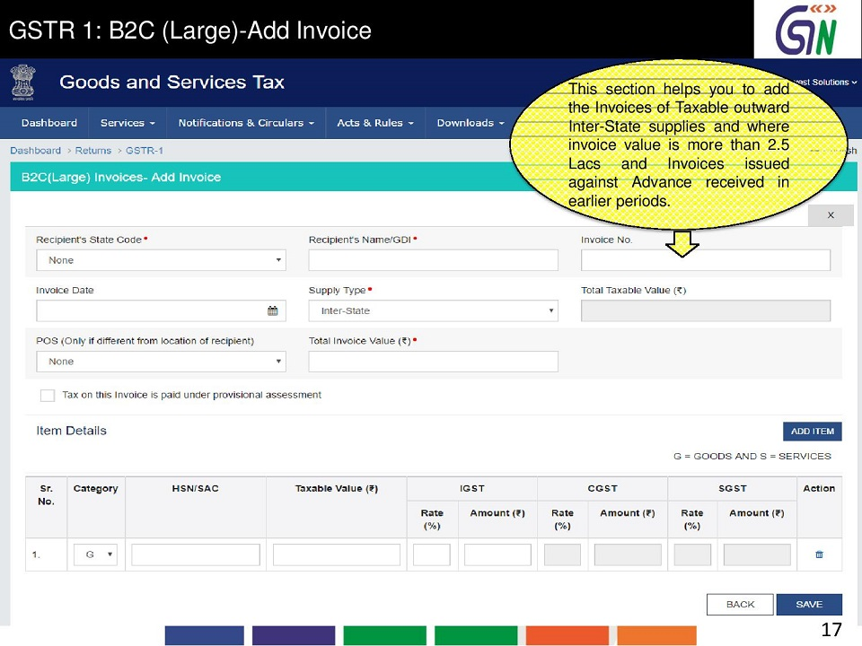 9 GSTR 1 B2C (Large)-Add Invoice This section helps you to add the Invoices of Taxable outward Inter -State supplies and where invoice.jpg