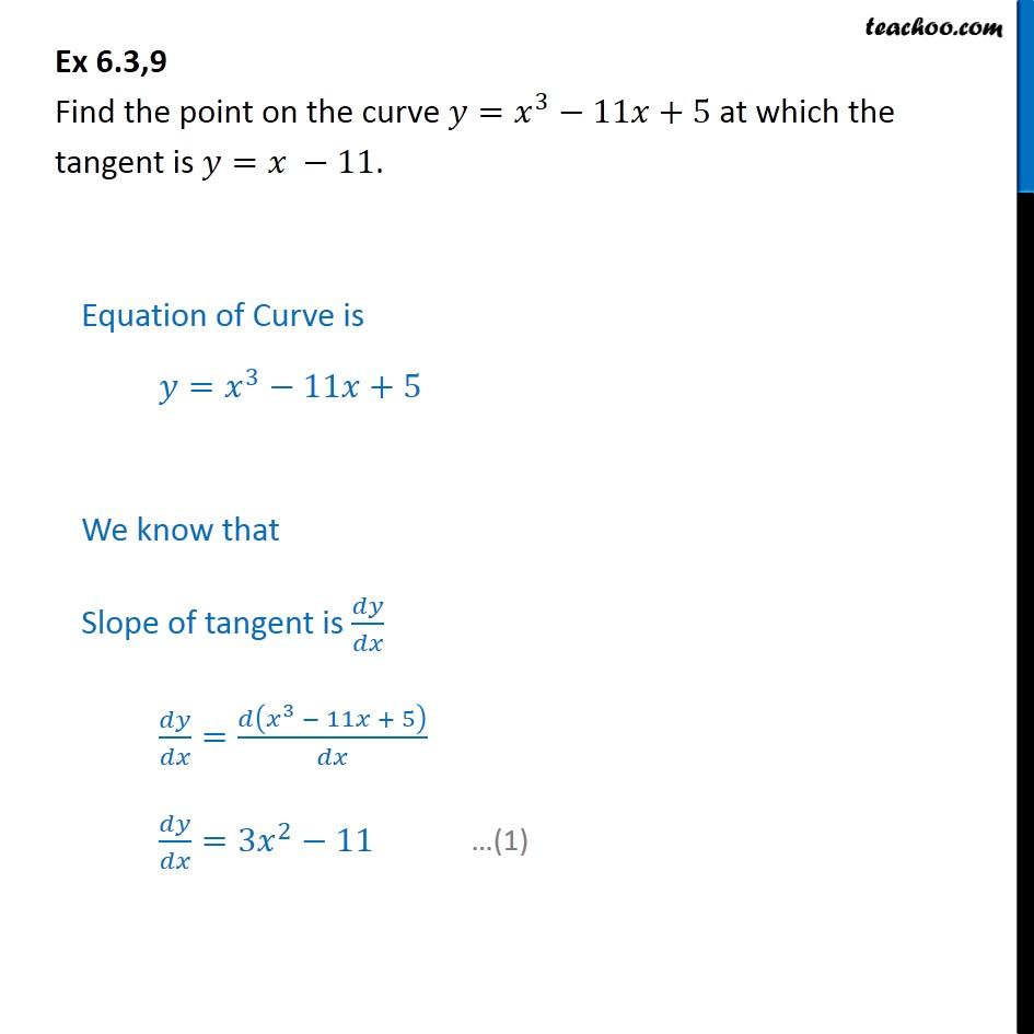 Ex 6.3, 9 - Find point on y = x3 - 11x + 5 at which tangent - Ex 6.3