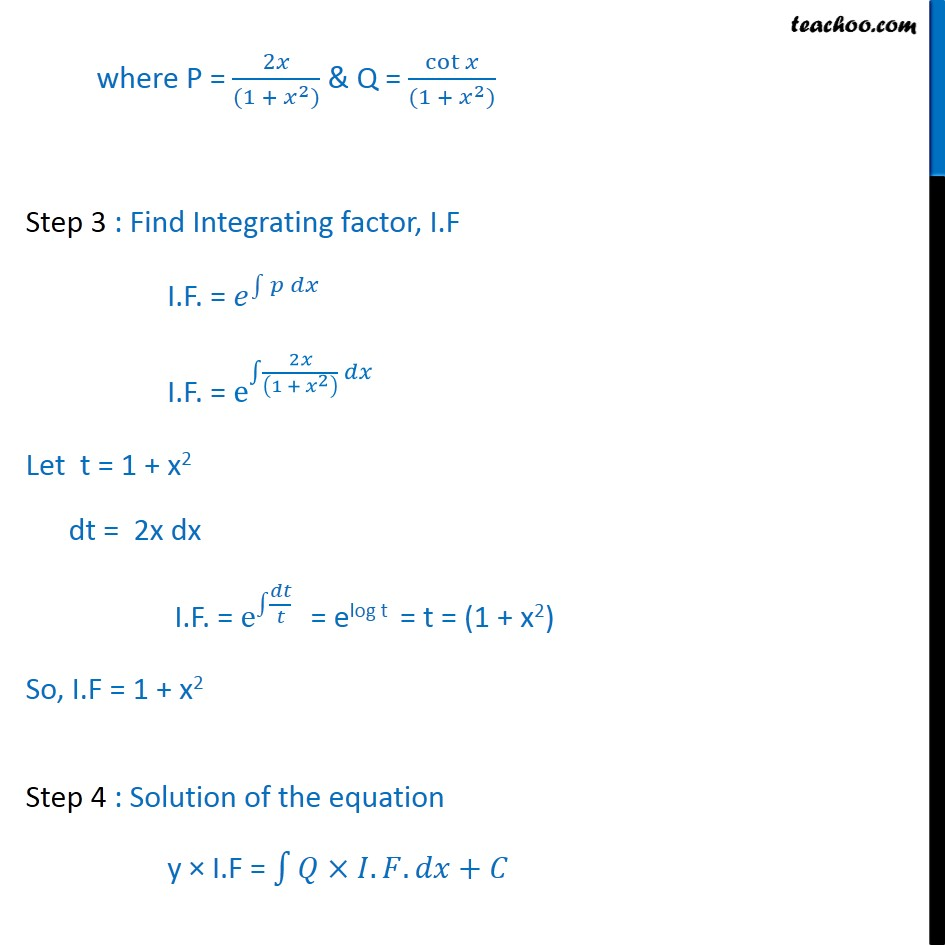 Ex 9.6, 8 - Ex 9.6, 8For each of the differential equation given in Exercises 1 to 12, find the general solutio - Solving Linear differential equations - Equation given