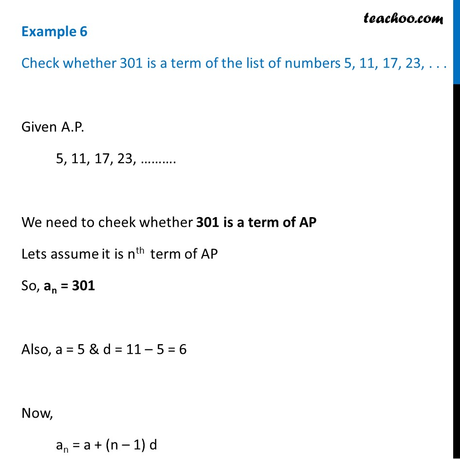 Example 6 - Check whether 301 is a term of 5, 11, 17, 23,