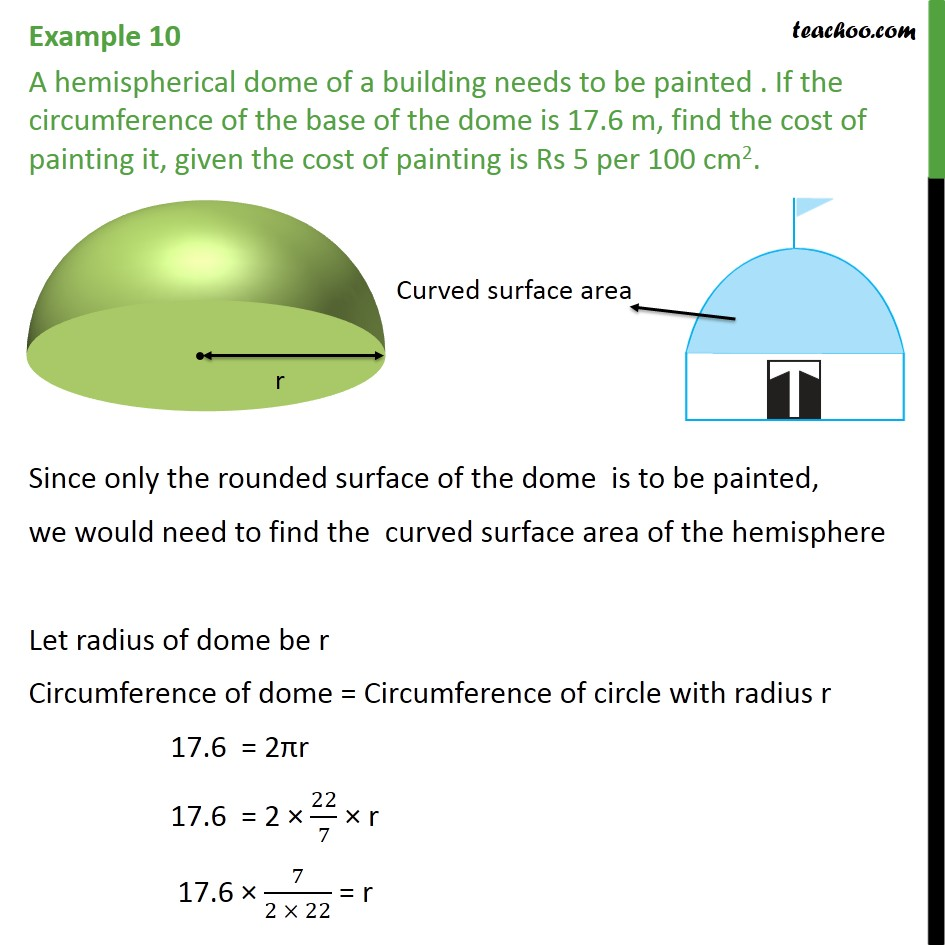 Example 10 - A hemispherical dome of a building needs to - Area Of Hemisphere