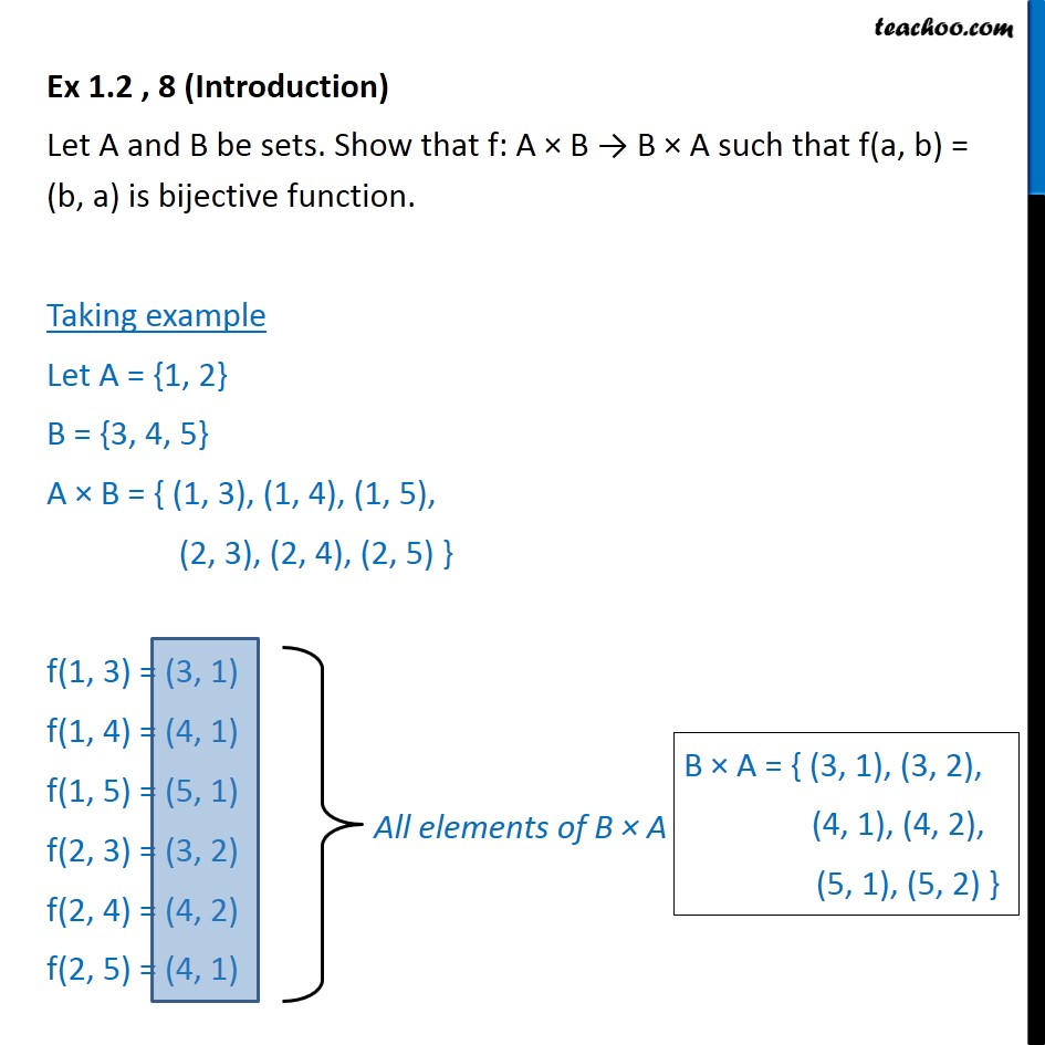 Ex 1.2, 8  - Show that f: A x B -> B x A, f(a, b) = (b, a) - To prove injective/ surjective/ bijective (one-one & onto)