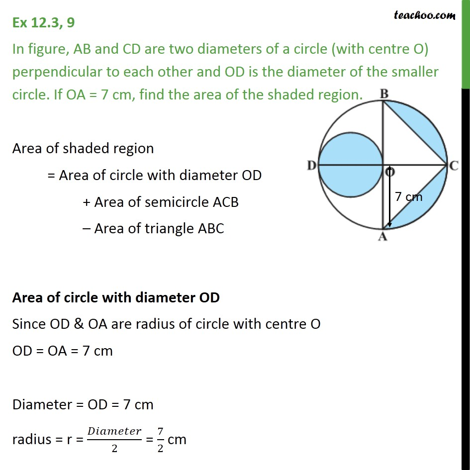 Ex 12.3, 9 - AB and CD are two diameters of a circle - Ex 12.3
