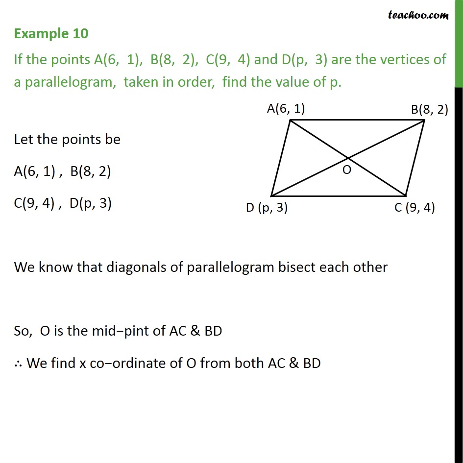 Example 10 - If points A(6, 1), B(8, 2), C(9, 4) and D(p, 3) - Section Formula- Finding coordinates of a point in a quadrilateral