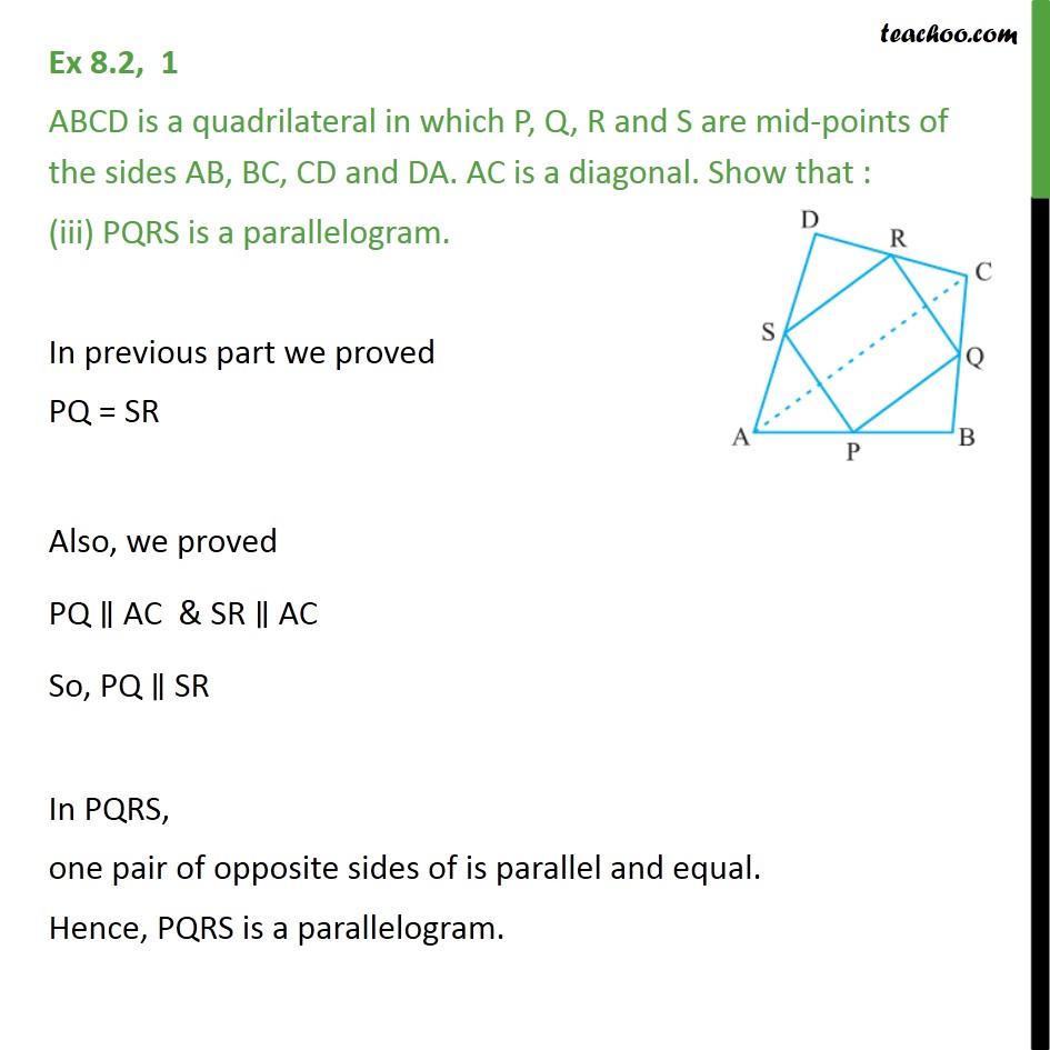 Ex 8.2, 1 - Chapter 8 Class 9 Quadrilaterals - Part 3