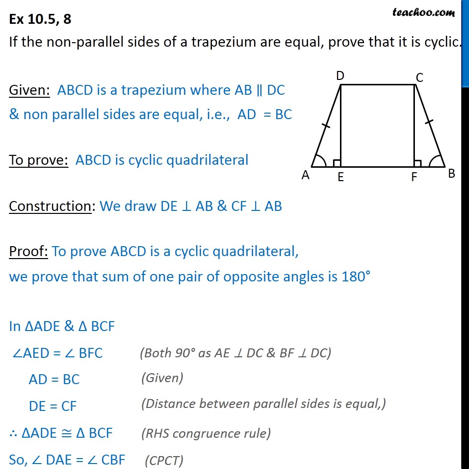 Ex 10.5, 8 - If non-parallel sides of a trapezium are equal - Cyclic quadrilaterals