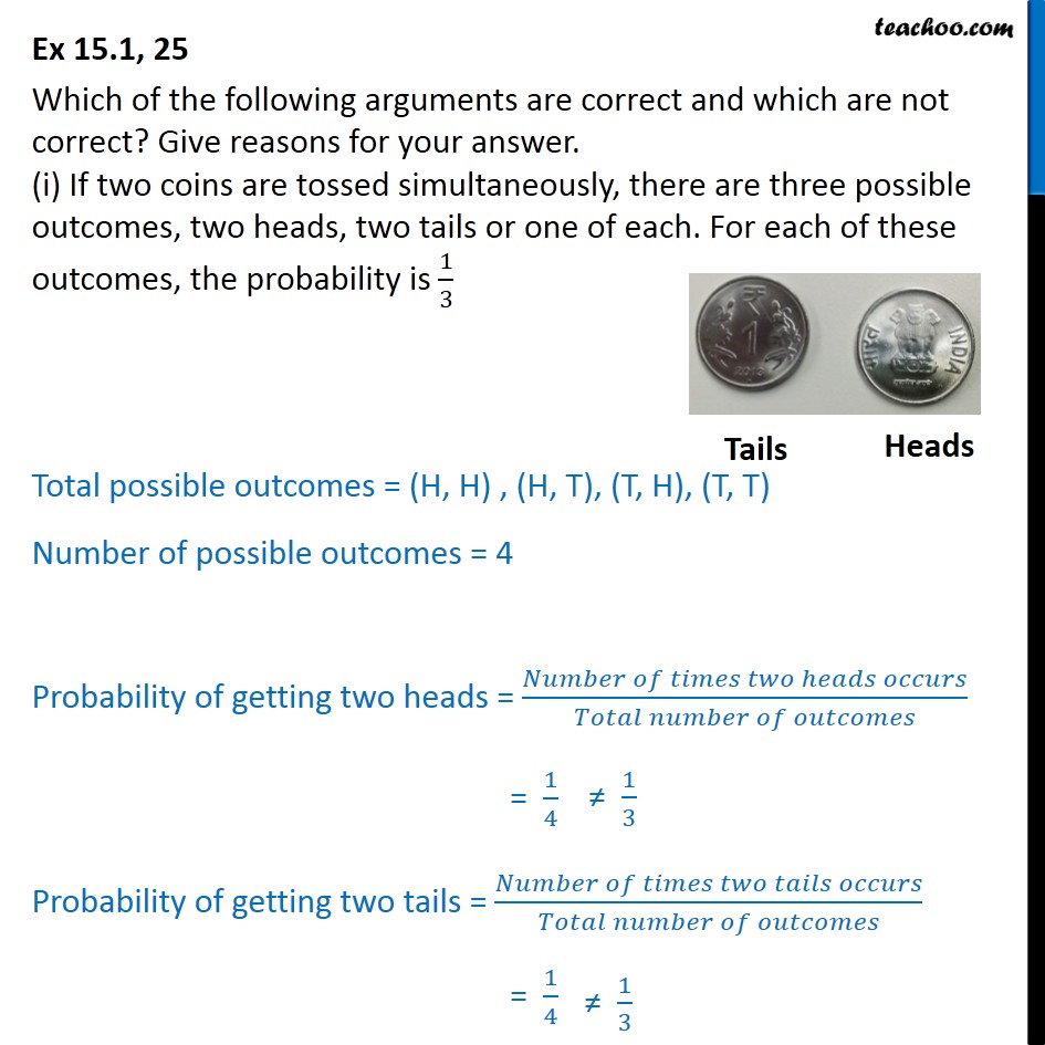 Ex 15.1, 25 - (i) If two coins are tossed, there are three - Ex 15.1