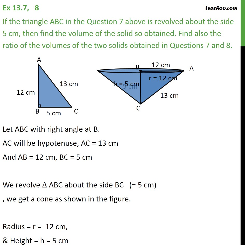 Ex 13.7, 8 - If triangle ABC in Question 7 above is - Volume Of Cone