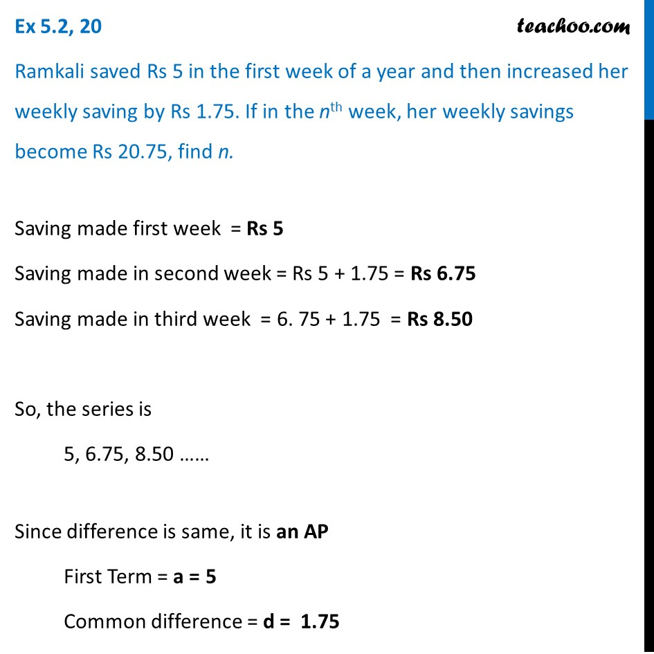Ex 5.2, 20 - Ramkali saved Rs 5 in the first week of - Ex 5.2